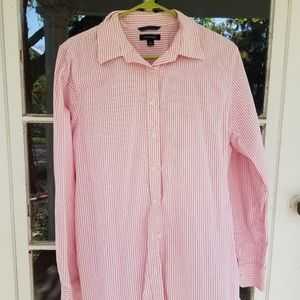 Lands End Long Sleeve Pink Striped Blouse